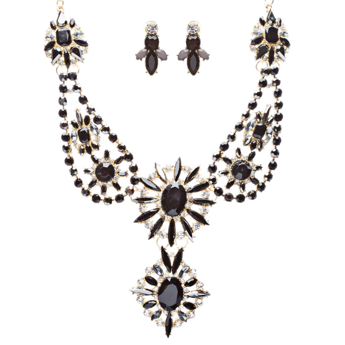 Beautiful Multi Strands Bead Bohemain Statement Necklace Jewelry Set JN249 Black