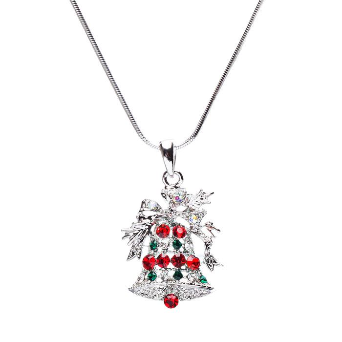Christmas Jewelry Crystal Rhinestone Bells Pendant Charm Necklace N61 Silver