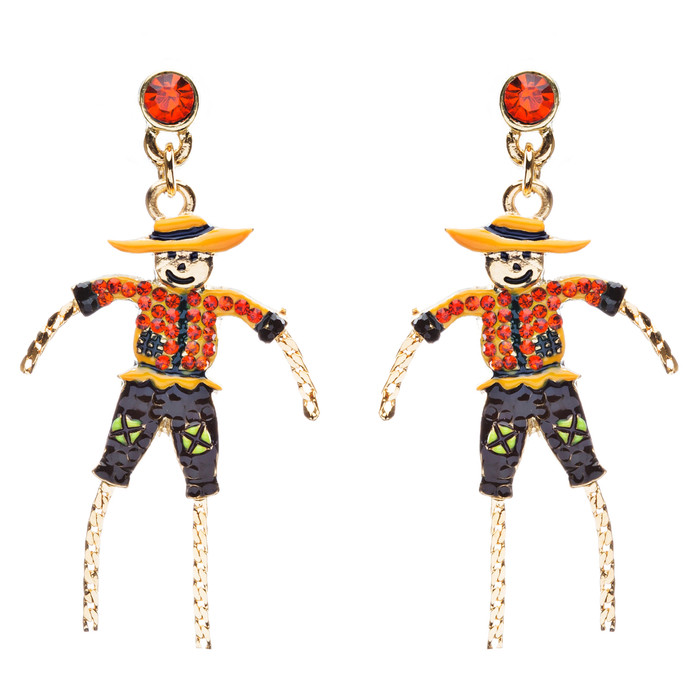 Halloween Costume Jewelry Crystal Rhinestone Detailed Scarecrow Earrings E794 OR
