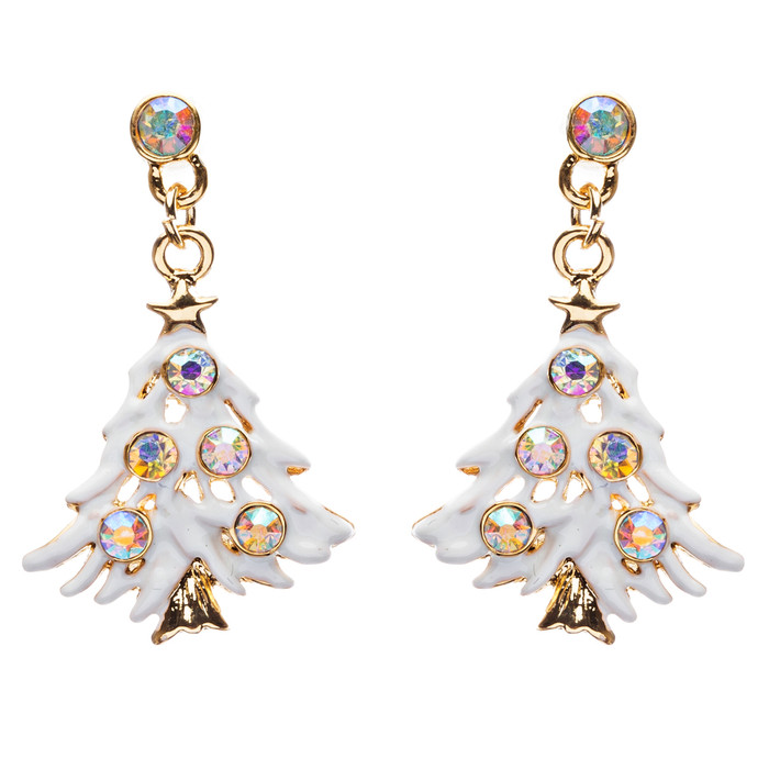 Christmas Jewelry Crystal Rhinestone Colorful Christmas Tree Earrings E799 Multi