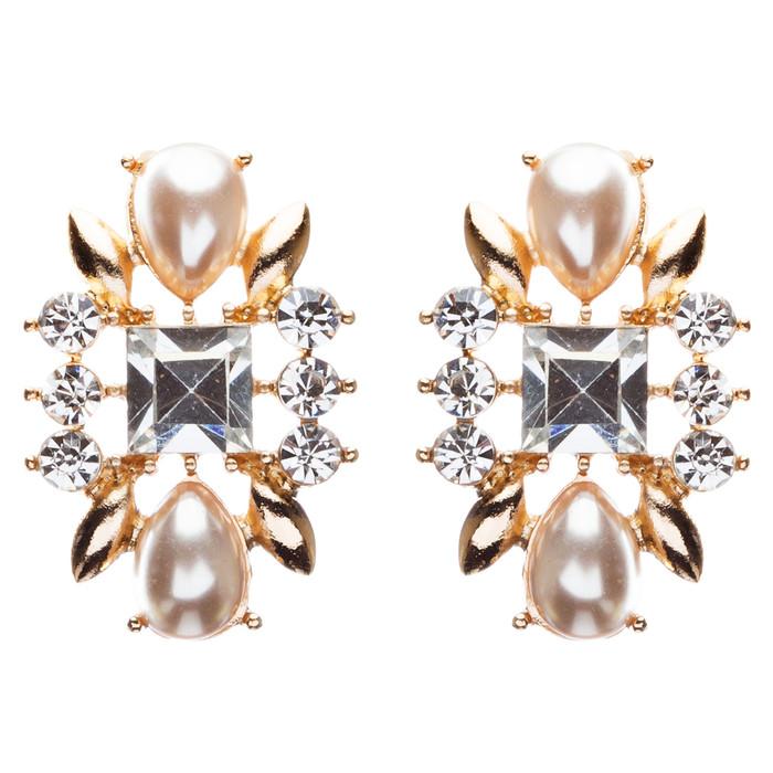 Bridal Wedding Jewelry Crystal Rhinestone Intricate Faux Pearl Earrings E801Gold