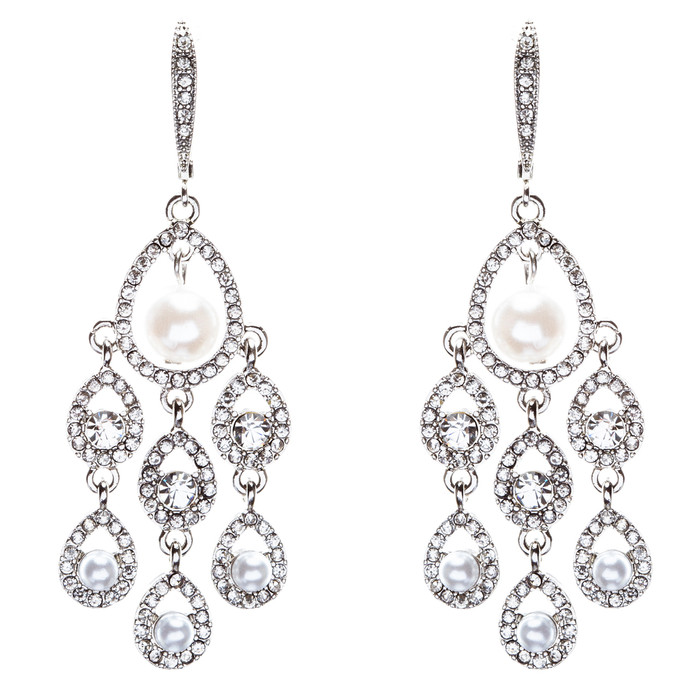 Bridal Wedding Jewelry Crystal Rhinestone Elegant Faux Pearl Earrings E818Silver