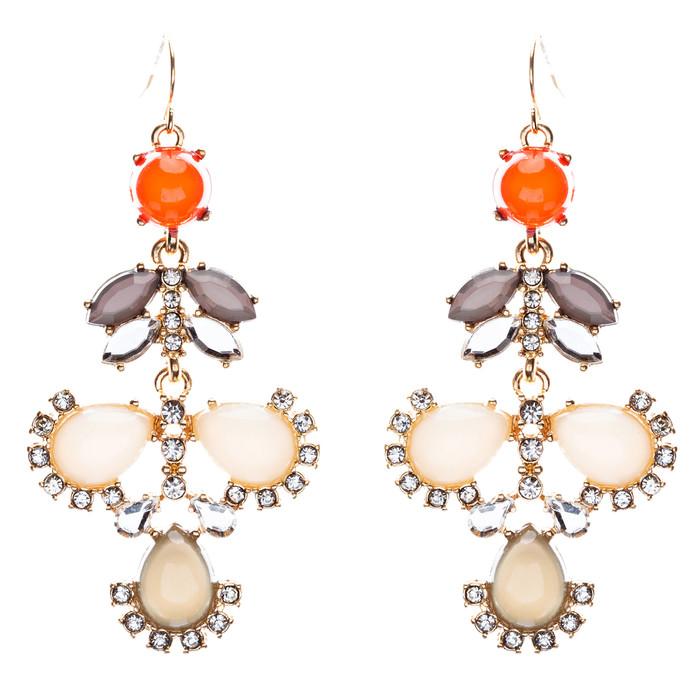 Modern Fashion Crystal Rhinestone Beautiful Floral Design Necklace E819 Beige