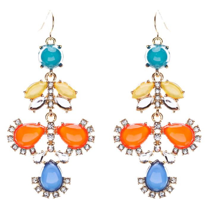 Modern Fashion Crystal Rhinestone Beautiful Floral Design Necklace E819 Orange