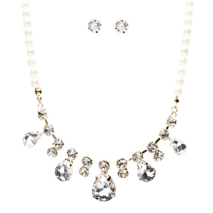 Bridal Wedding Jewelry Crystal Rhinestone Captivating Tear Drop Necklace J580 GD
