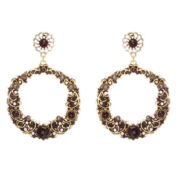 Striking Fashion Crystal Rhinestone Intricate Arrangement Earrings ER828 Black