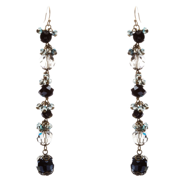 Modern Trend Crystal Rhinestone Charming Linear Dangle Earrings E832 Black