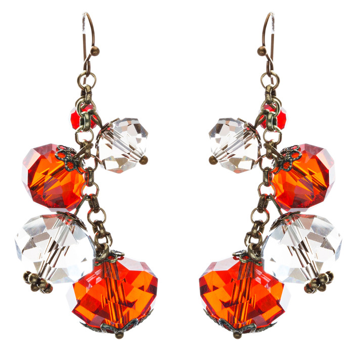 Modern Fashion Crystal Rhinestone Cute Cluster Design Dangle Earrings E833 Red