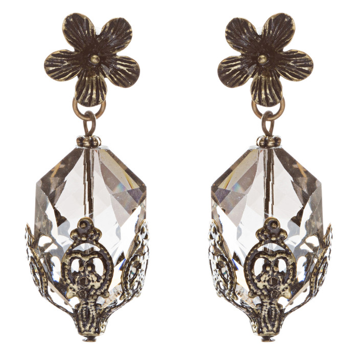 Contemporary Fashion Uniquely Charming Floral Design Dangle Earrings E835 Gray
