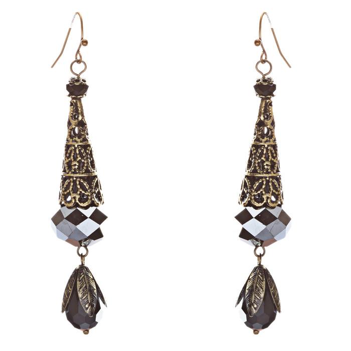 Bold Fashion Crystal Rhinestone Brassy Tear Drop Cone Design Earrings E841 Black