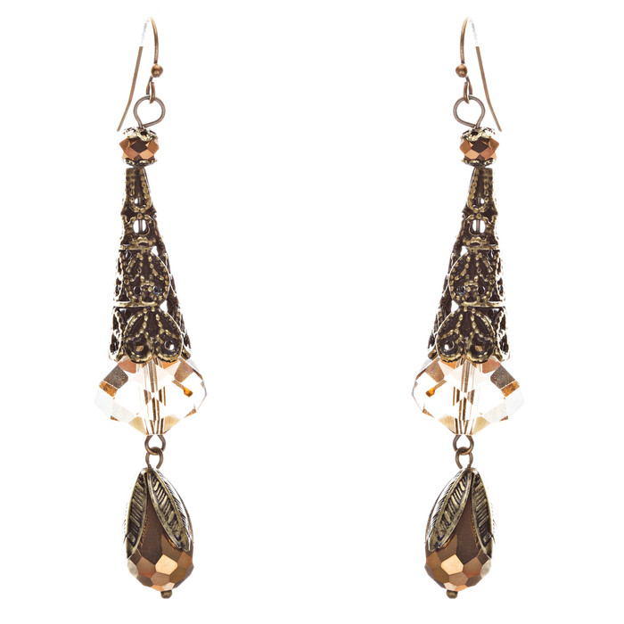 Bold Fashion Crystal Rhinestone Brassy Tear Drop Cone Design Earrings E841 Brown