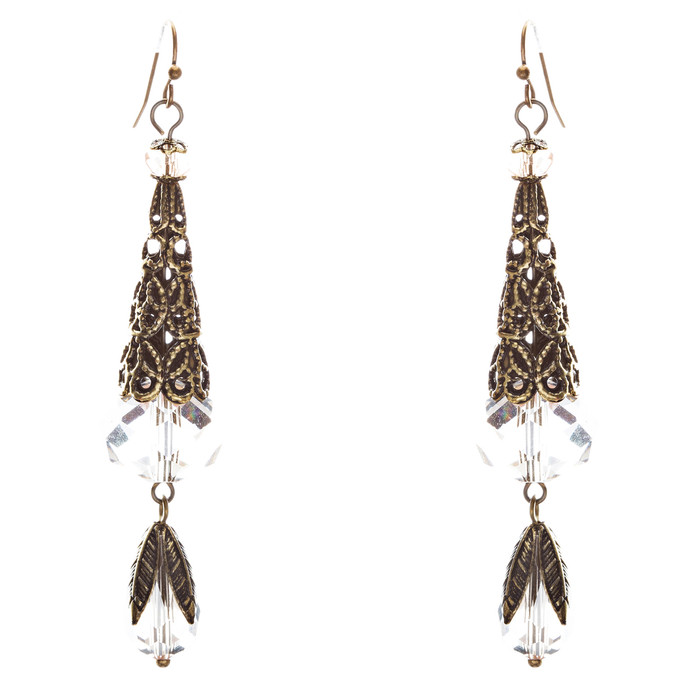 Bold Fashion Crystal Rhinestone Brassy Tear Drop Cone Design Earrings E841 Clear