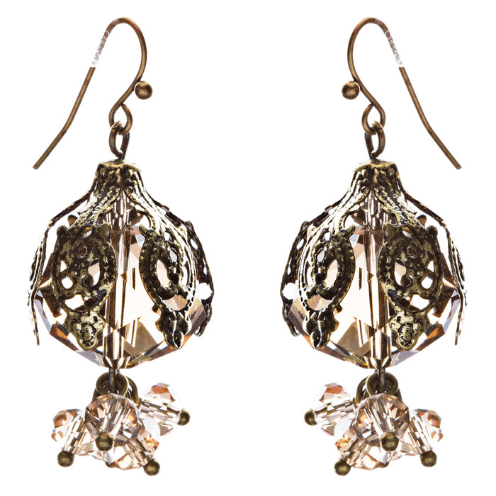 Bold Fashion Crystal Rhinestone Brassy Antique Cluster Ball Earrings E843 Ivory