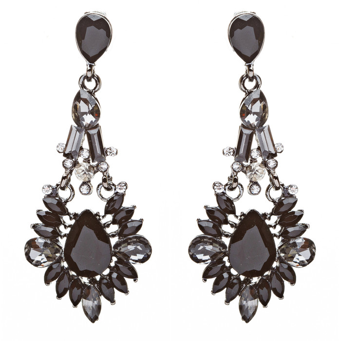 Bridal Wedding Jewelry Crystal Rhinestone Uniquely Crafted Earrings E726 Black