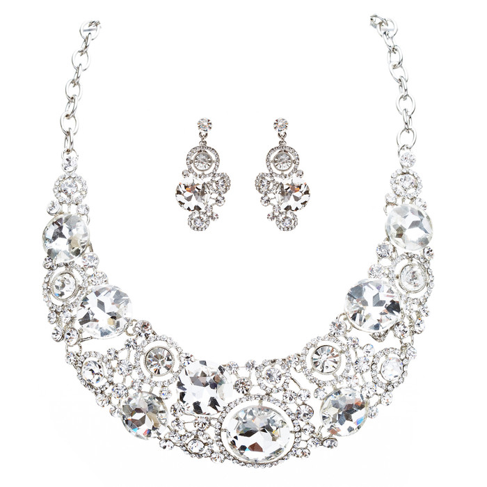 Bridal Wedding Jewelry Crystal Rhinestone Spellbinding Bib Necklace J506 Silver