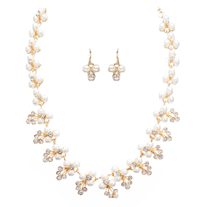 Bridal Wedding Jewelry Crystal Rhinestone Soft Elegant Necklace Set J507 Gold
