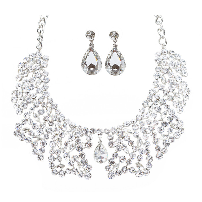 Bridal Wedding Jewelry Crystal Rhinestone Grand Finely Crafted Necklace J504SL