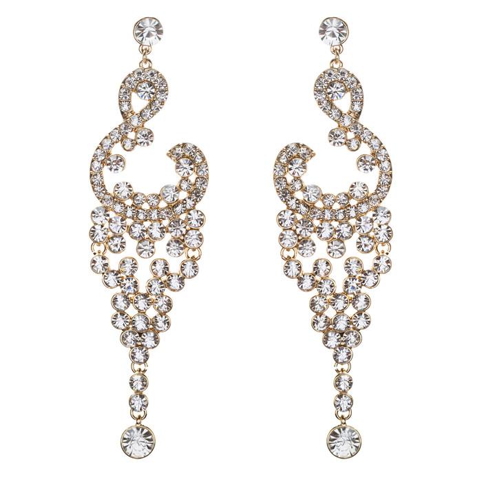 Bridal Wedding Jewelry Crystal Rhinestone Vintage Dangle Earrings E728 Gold