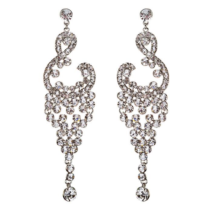 Bridal Wedding Jewelry Crystal Rhinestone Vintage Dangle Earrings E728 Silver
