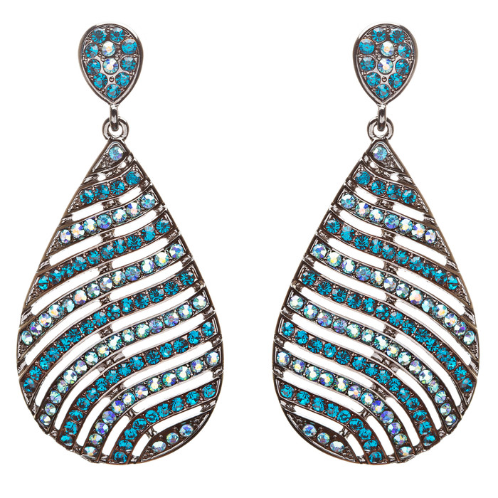 Modern Fashion Crystal Rhinestone Stunning Leaf Design Dangle Earrings E729 Blue