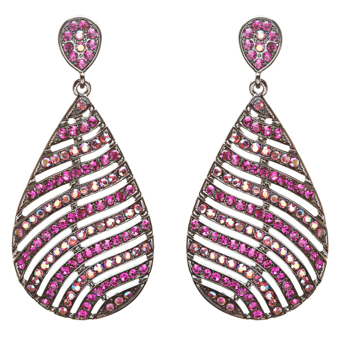 Modern Fashion Crystal Rhinestone Stunning Leaf Design Dangle Earrings E729 Pink