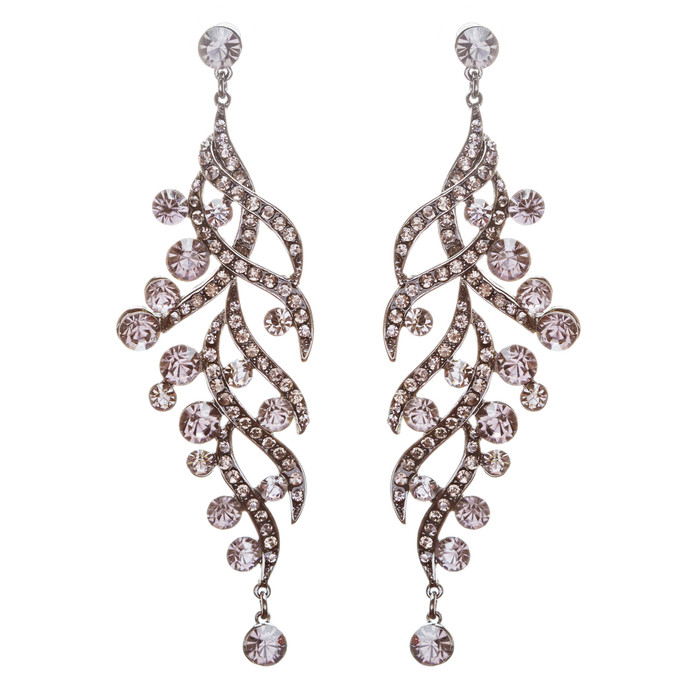 Modern Fashion Crystal Rhinestone Striking Long Drop Dangle Earrings E731 Black