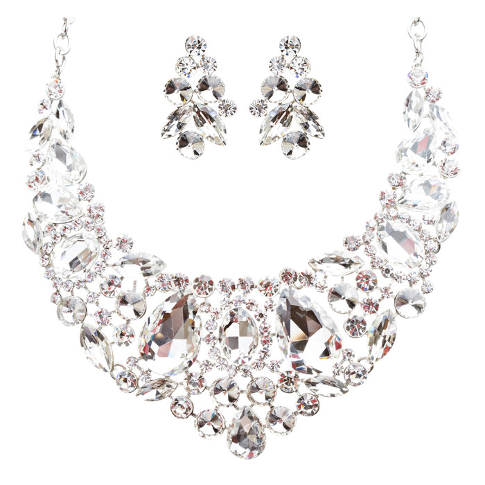 Bridal Wedding Jewelry Crystal Rhinestone Beautiful Embroidered Necklace J513SV