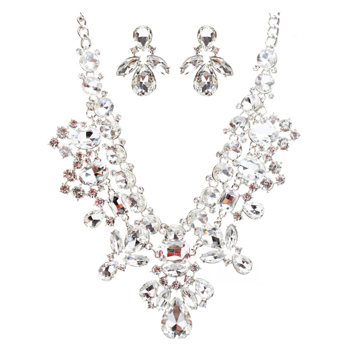 Bridal Wedding Jewelry Crystal Rhinestone Exquisite Multi Strand Necklace JS514S