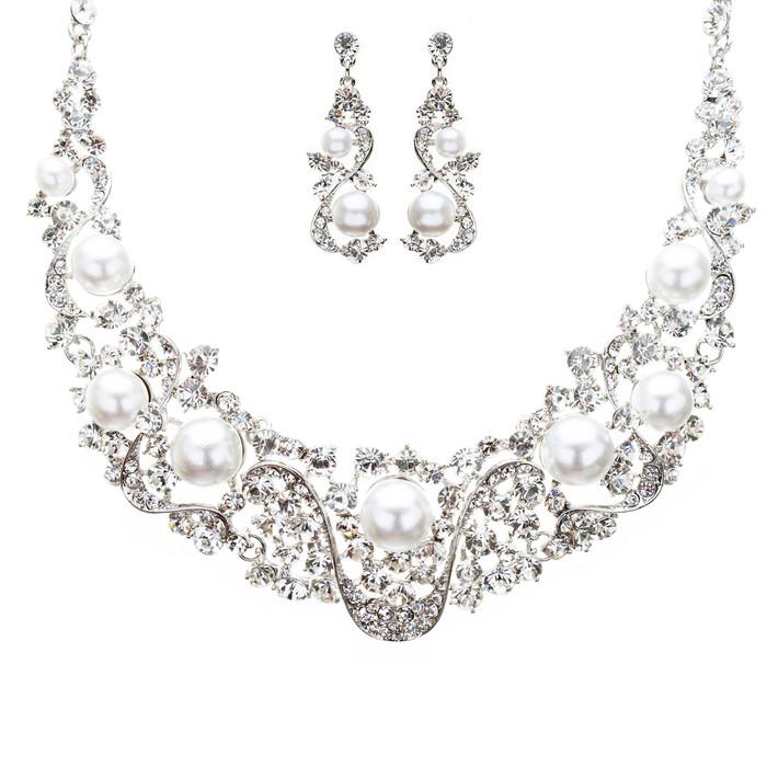Bridal Wedding Jewelry Crystal Rhinestone Intricate Interwoven Necklace J522 SLV