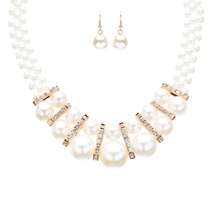 Bridal Wedding Jewelry Crystal Rhinestone Gorgeous Pearl Necklace J523 Gold