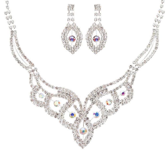 Bridal Wedding Jewelry Crystal Rhinestone Dazzling Contour Necklace J544 Silver