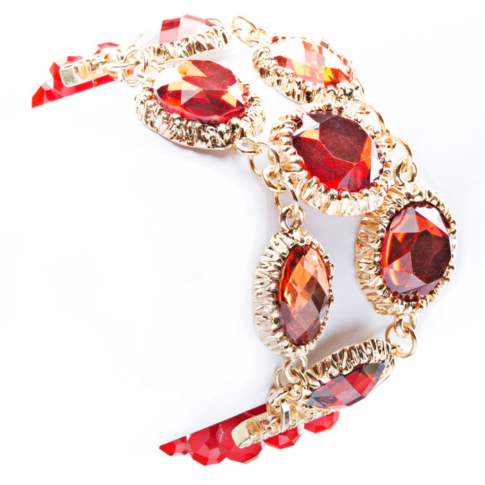 Modern Fashion Captivating Bright Color Design Statement Bracelet B485 Red