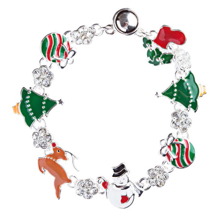 Christmas Jewelry Crystal Rhinestone Festive Charm Link Bracelet B491 Multi