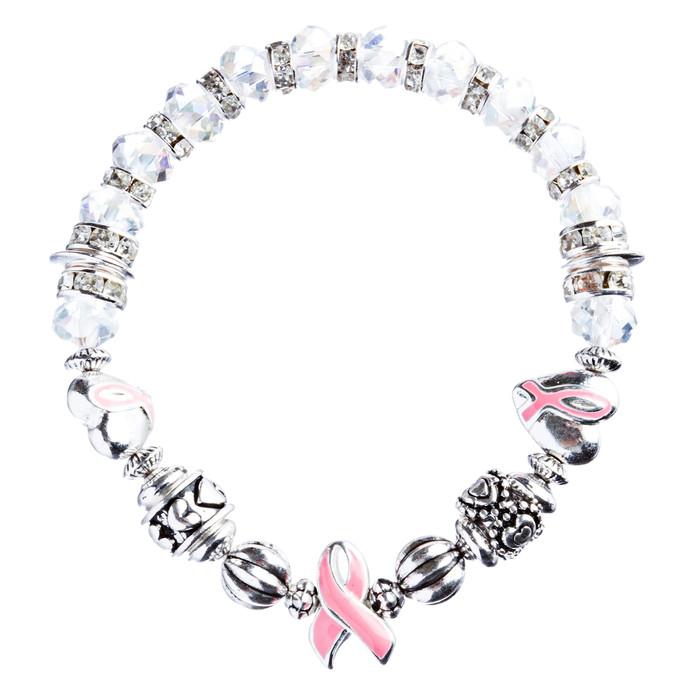 Pink Ribbon Jewelry Crystal Rhinestone Cute Glass Bead Charm Bracelet B492 Pink