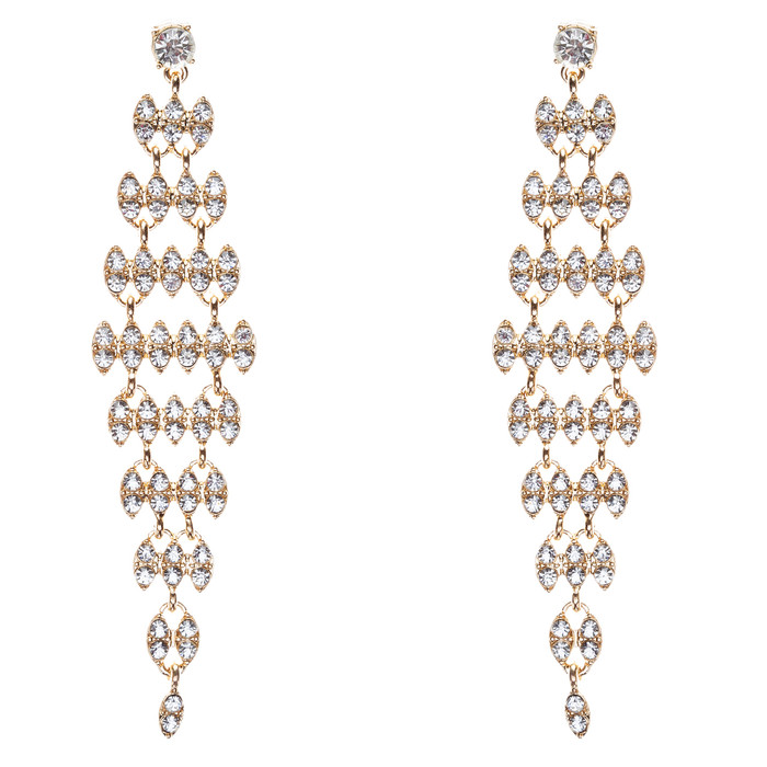 Bridal Wedding Jewelry Crystal Rhinestone Stylish Dangle Earrings E806 Gold