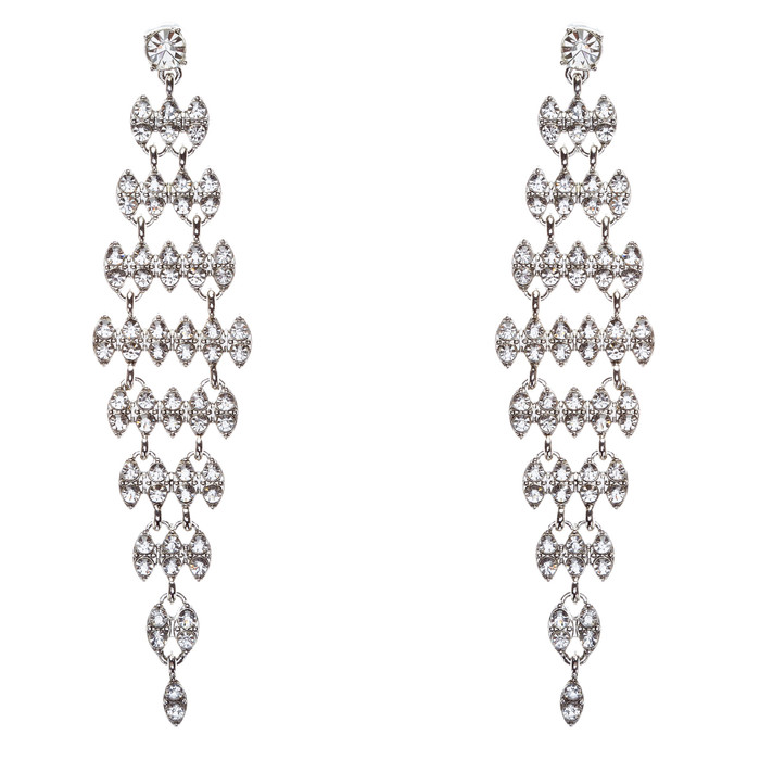 Bridal Wedding Jewelry Crystal Rhinestone Stylish Dangle Earrings E806 Silver