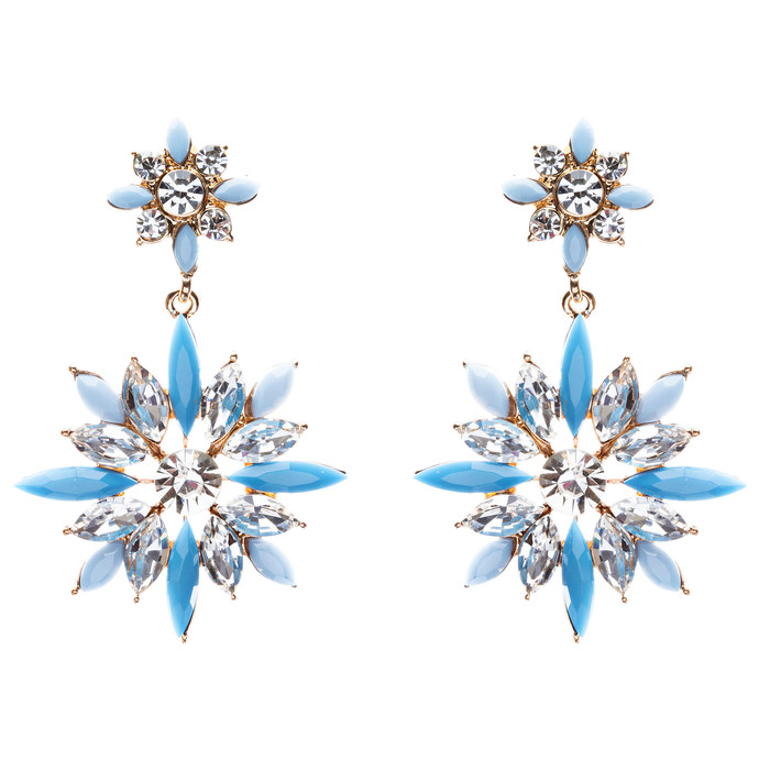 Modern Fashion Crystal Rhinestone Elegantly Crafted Star Earrings E808 Blue