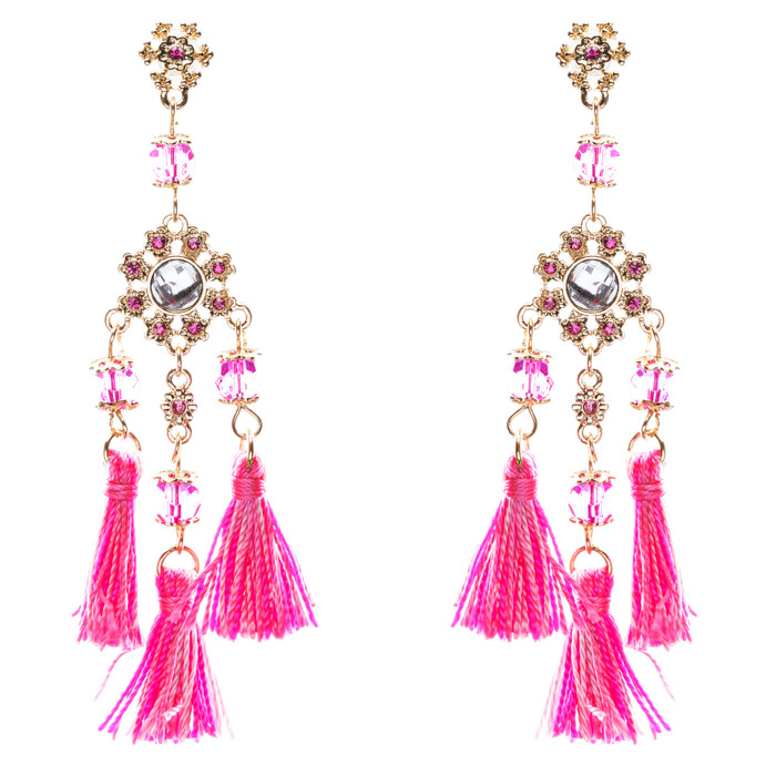 Unconventional Design Crystal Rhinestone Fun Tasseled Dangle Earrings E811 Pink