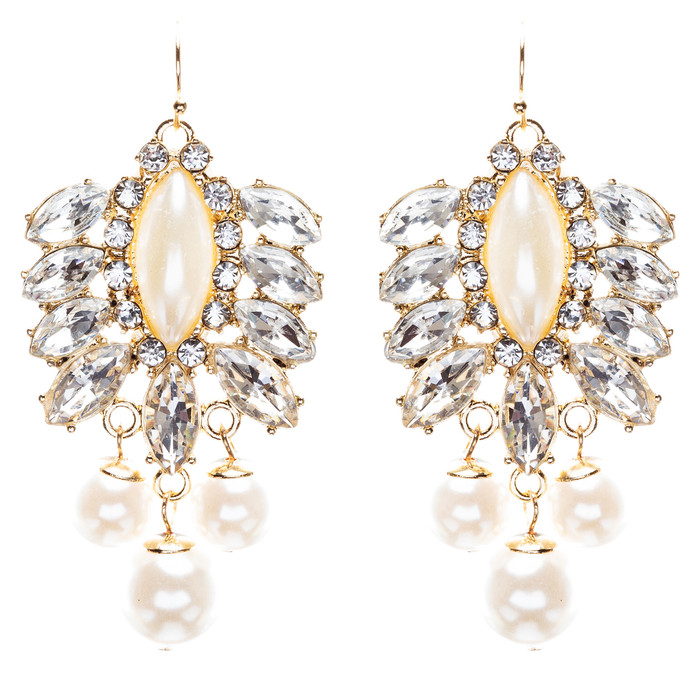Elegance Fashion Crystal Rhinestone Grand Design Dangle Earrings E813 White