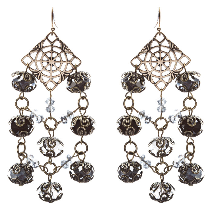 Bold Fashion Extraordinary Beaded Charms Design Dangle Earrings E853 Black