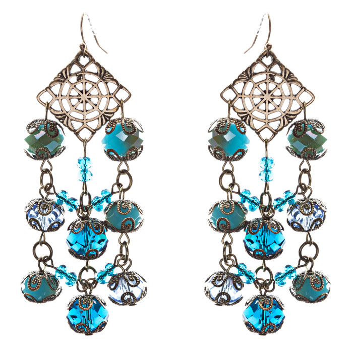 Bold Fashion Extraordinary Beaded Charms Design Dangle Earrings E853 Blue