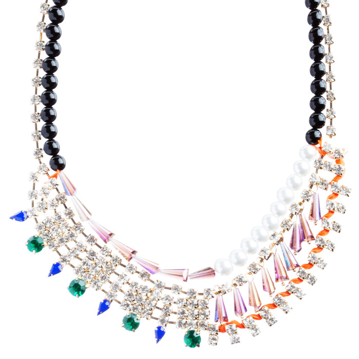 Contrasting Arrangement Crystal Rhinestone Statement Bib Necklace N79 Multi