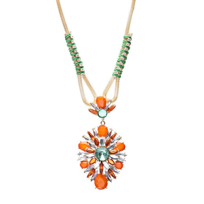 Stylish Modern Fashion Crystal Rhinestone Fascinating Necklace Set N82 Orange