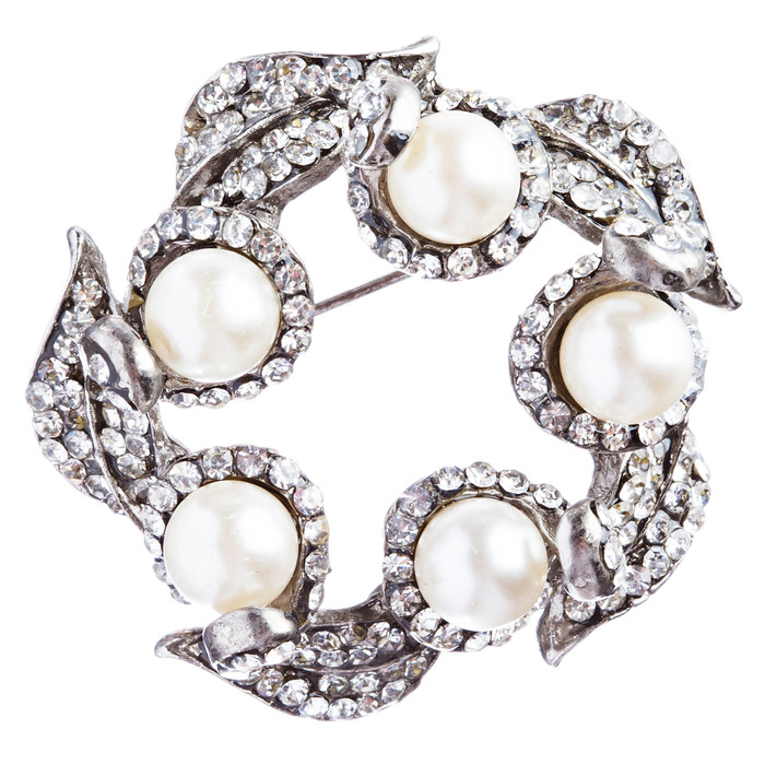 Bridal Wedding Jewelry Crystal Rhinestone Sophisticated Faux Pearl Brooch B86WT