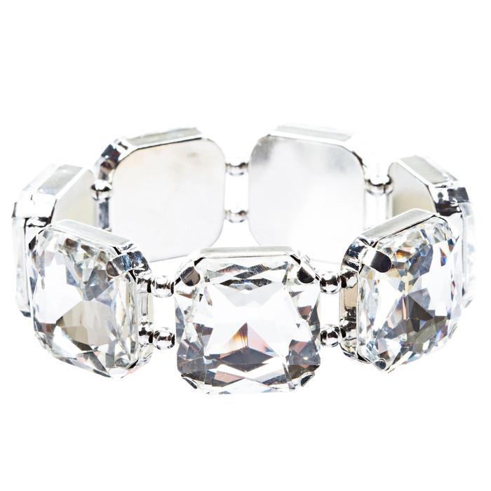 Bridal Wedding Jewelry Elegant 7 Piece Large Glass Stones Stretch Bracelet B467