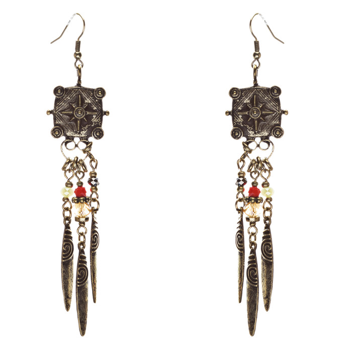 Tribal Fashion Exotic Long Drop Glass Beads Dangle Earrings E823 Multi