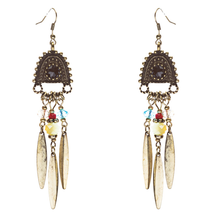 Tribal Fashion Fascinating Long Drop Glass Beads Dangle Earrings E824 Multi