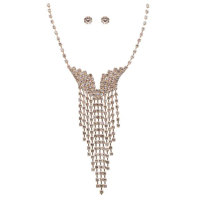 Bridal Wedding Jewelry Crystal Rhinestone Illuminating Dangling Necklace J516 GD