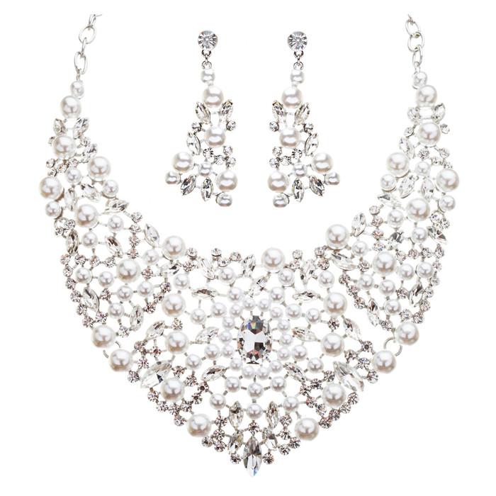 Bridal Wedding Jewelry Crystal Rhinestone Captivating Bib Necklace Set J519 WT