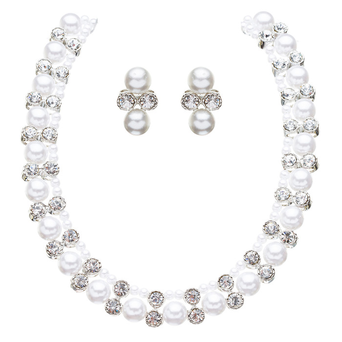 Bridal Wedding Jewelry Crystal Rhinestone Elegant Faux Pearl Necklace J543 White